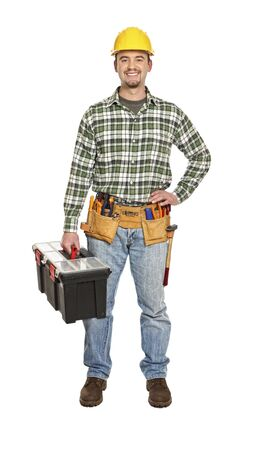 manual worker portrait with tooslbox isolated on white Stock Photo - 6542968