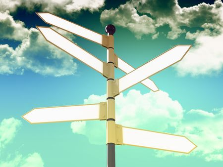direct: 3d direction blank signal and blue sky background