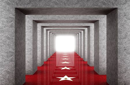 star path: 3d image of grunge interior and red path with white success star Stock Photo