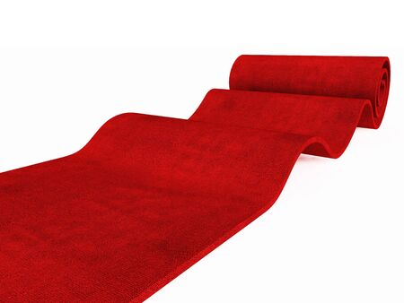 red carpet background: red carpet rolling on white plane 3d image success background Stock Photo