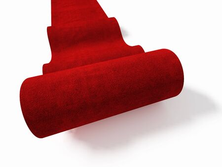 classic 3d red carpet roll on white floor photo
