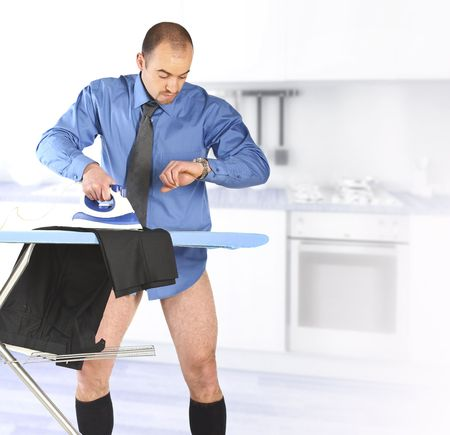 businessman late for work  ironing his trouser Stock Photo - 6608660