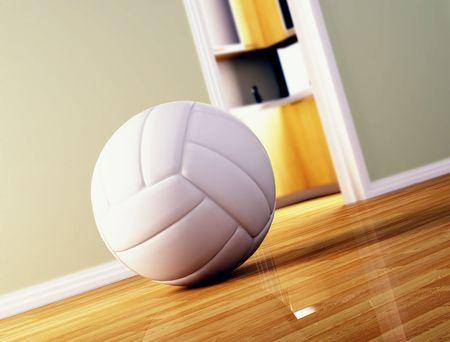 ballon volley: volley ball sur fond de sport image 3d de plancher bois