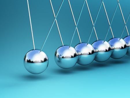 hanging toy: newton cradle 3d ballancing balls fine background