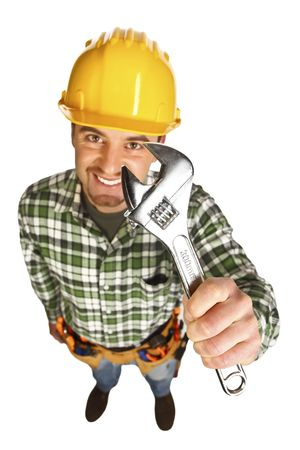 manual worker funny portrait from above on white background Stock Photo - 6632291