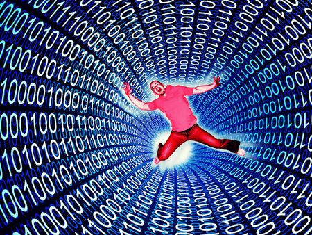 man fall in a 3d binary code tunnell Stock Photo - 6655265