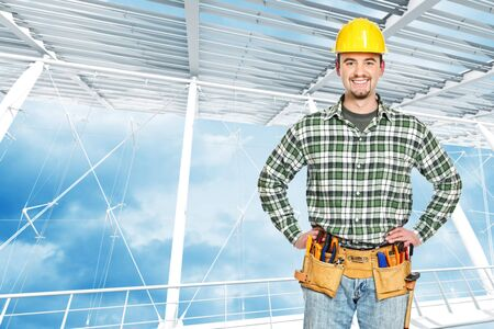 journeyman technician: young man tools inside of modern building