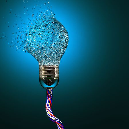 impacts: 3d image of classic electric bulb explosion background Stock Photo