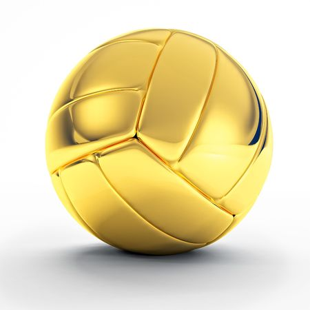 3d image of classic golden volley ball on white photo