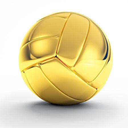 pelota de voley: imagen 3D de pelota de voley de oro cl�sico sobre blanco