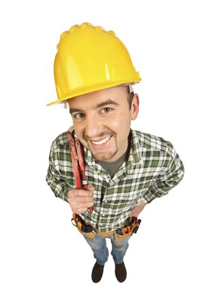 funny manual worker portrait isolated on white background photo