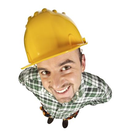 funny manual worker portrait isolated on white background Stock Photo - 6713873