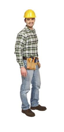 journeyman technician: confident standing manual worker isolated on white background