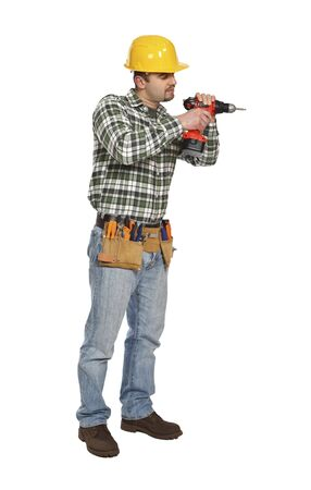 young handyman on duty isolated on white background photo
