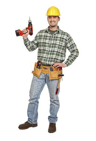 carpintero: trabajador manual con taladro eléctrico rojo sobre fondo blanco