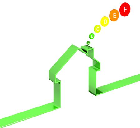 attested: energetic house class image 3d on white background