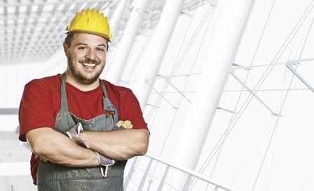 smiling caucasian confident manual worker portrait photo
