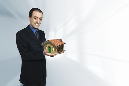 confident businessman and house model 3d concept photo