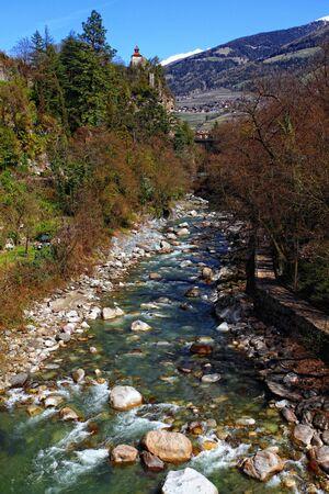meran: nice view of meran river shot from roman bridge Stock Photo