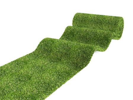 green carpet: rolling eco green carpet on white background Stock Photo