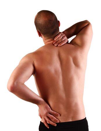 lesionado: joven cauc�sicos con dolor en un back aislado en blanco