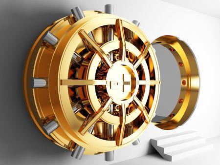 vaulted door: bank golden vault door 3d  Stock Photo