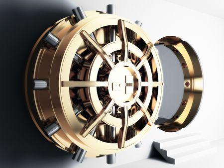 caja fuerte: b�veda de Banco oro 3d de la puerta