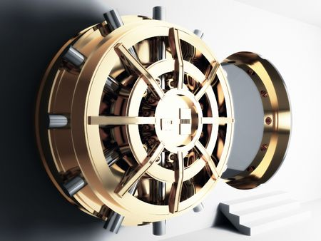 vaulted door: bank golden vault door 3d