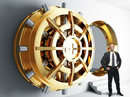 combination lock: businessman and bank golden vault door 3d  Stock Photo