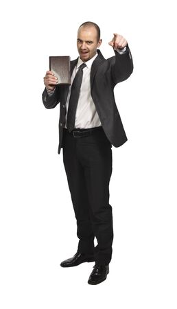 young businessman standing on white background and hold a book Stock Photo - 6829840