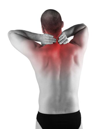 red detail on back pain zone, male body Stock Photo - 6829827