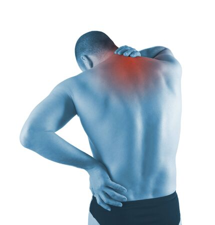 young man with pain on upper back Stock Photo - 6829836