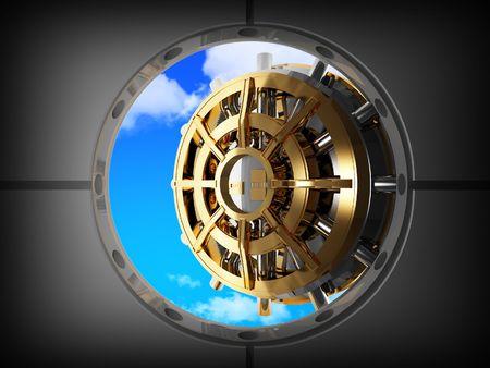 bank vault: vault bank door open on blue sky Stock Photo