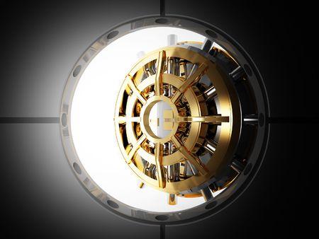 lingotes de oro: vista de 3d de puerta de b�veda de banco desde la sala de la seguridad