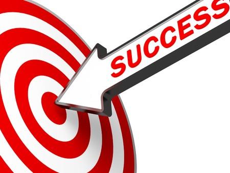 imagen 3D de negocio metafórico de flecha de destino y el éxito