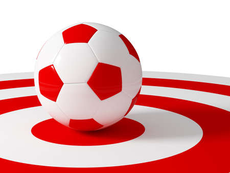 fotball: soccer ball target red and white 3d image