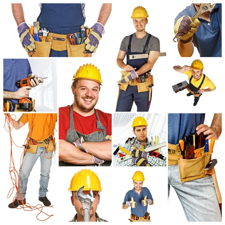 people at work, collage picture of different manual workers photo
