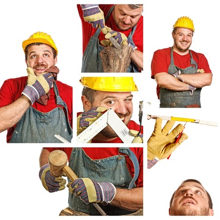 young carpenter at work in a different situation Stock Photo - 6880630