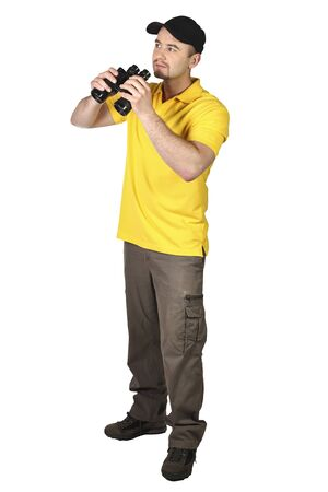 man with black Binoculars isolated on white background photo