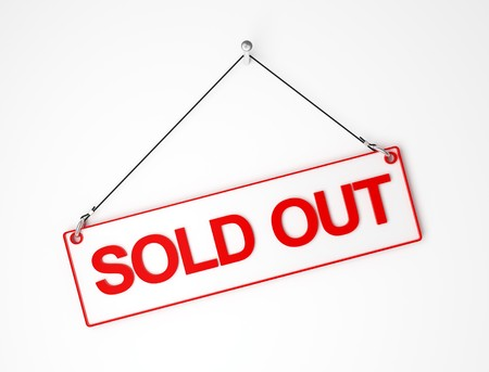 sell out: sold out red and white signal board 3d background