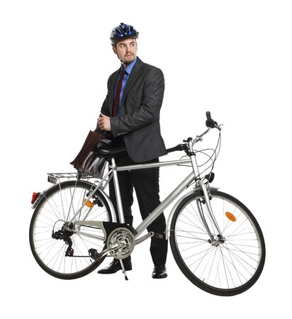 businessman and classic bicycle isolated on white Stock Photo - 6993768