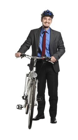 young adult businessman with bicycle on white background photo