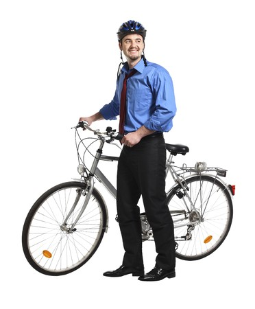 young white collar worker and bicycle photo