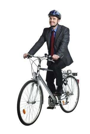 businessman ride bicycle isolated on white background photo