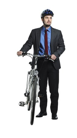 businessman and classic bicycle isolated on white photo