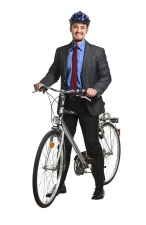 happy young businessman and his bicycle photo