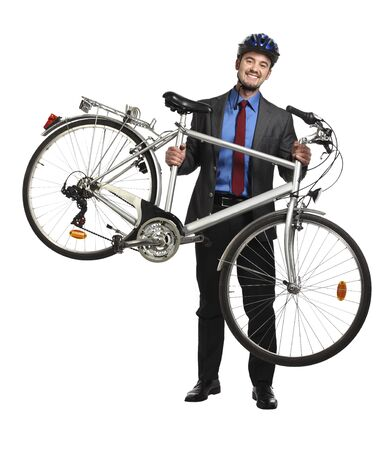 bicycle wheel: smiling business man hold his bicycle isolated on white