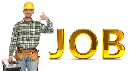 call me: young worker in call me gesture with golden job text