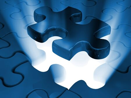 jigsaw piece of 3d virtual  puzzle Stock Photo - 7100135