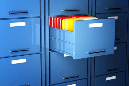 administration: file cabinet 3d and colorful folder office image Stock Photo